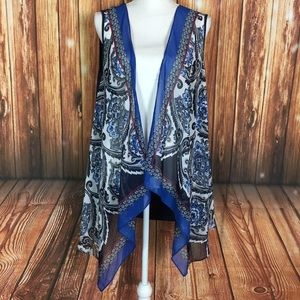 Christopher & Banks Paisley Waterfall Open Vest